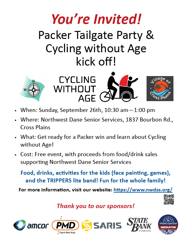 Packer Tailgate Party & Cycling without Age kickoff @ Northwest Dane Senior Services